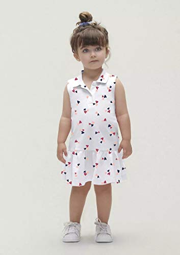 Vestido Infantil Menina Gola Polo branco tam 1 a 2 anos cor:branco;tamanho:2
