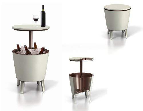 31kTvoqPFrL - Keter Cool Bar - Mesa nevera para exterior, Blanca / marrón, 50x41x50 cm