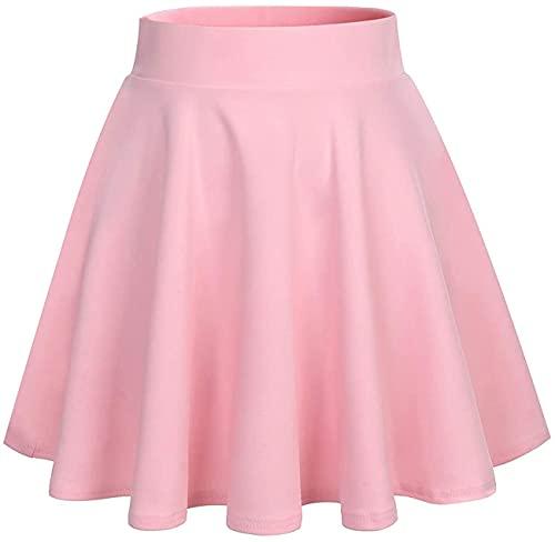 DRESSTELLS Women's Pink Skirt for Girls Versatile Basic Stretchy Flared Skater Mini Skirt Pink S
