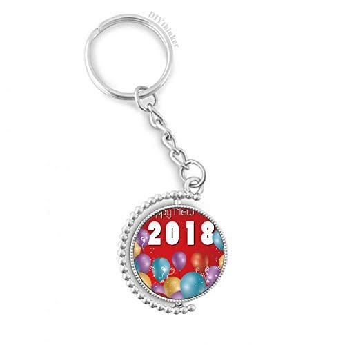 DIYthinker Mannen 2018 Ballon Jaar van de Hond Gelukkig Nieuwjaar Draaibare Sleutelhanger Ring Sleutelhouder 1,2 inch x 3,5 inch Multi kleuren