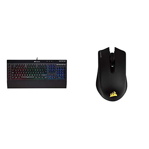 Corsair K55 Gaming Tastatur (Multi-Color RGB Beleuchtung, QWERTZ) schwarz & Harpoon Kabellose RGB Wiederaufladbare Optisch Gaming-Maus (mit Slipstream Technologie, 10.000DPI Optisch Sensor) schwarz