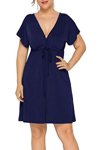 Santwo, vestito sexy da donna con scollo a V, casual, a maniche corte, taglia M-4XL Blu scuro L