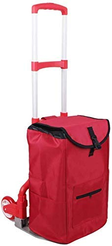 ShiSyan Lightweight Shopping Trolley Collapsible Aluminum Trolley Portable Luggage Cart with 2 Wheels Red Storage Bag