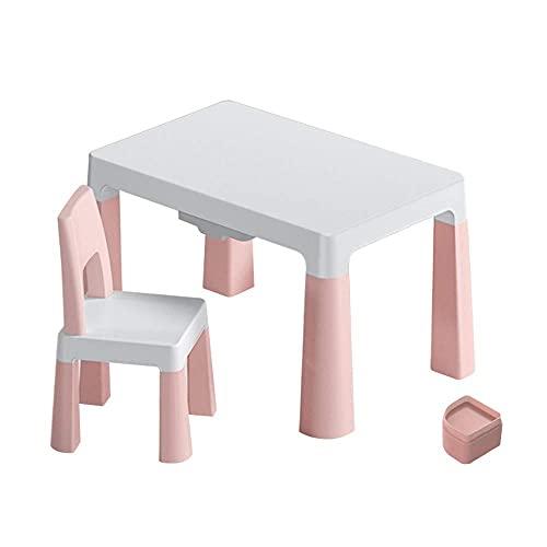 Renovation House Kindertisch- und Stuhl-Set Multifunktionaler Kinderarbeitstisch und Stuhl 4 erhöhte Kissen + Doppelschubladen für 3 bis 10 Jahre Lesen Essen und Spielen Stabil und langlebig B 78x5