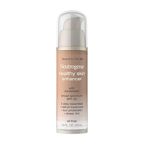 Neutrogena Healthy Skin Enhancer Sheer Face Tint with Retinol & Broad Spectrum SPF 20 Sunscreen for Younger Looking Skin, 3-in-1 Daily Enhancer, Non-Comedogenic, Neutral to Tan 40, 1 fl. oz
