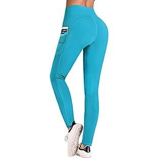IUGA Yoga Pants with Pockets, Tummy Control, Workout Running Leggings for Women (Light Blue, X-Large):Maskedking