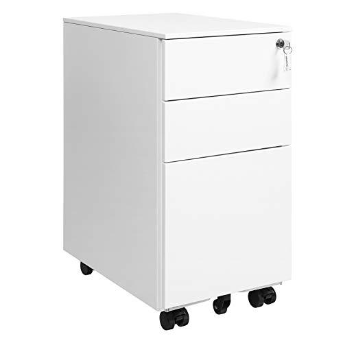 SONGMICS Rollcontainer, Aktenschrank, Büroschrank mit Rollen und Schloss, für Dokumente in DINA4, Legal- und Letter-Format, Hängeregistratur, weiß OFC031W01