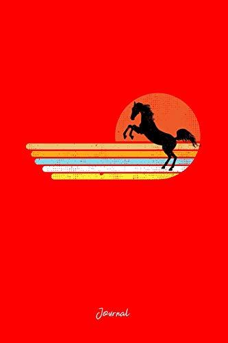 Journal: Dot Grid Journal - Horse Sunset Retro Stripes Vintage Animal Halloween Gift - Red Dotted Diary, Planner, Gratitude, Writing, Travel, Goal, Bullet Notebook