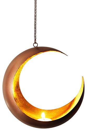 Orientalisches Windlicht Hängewindlicht Metall Qamar 20 cm groß | Orientalische Teelichthalter Kupfer von außen und Gold innen | Marokkanische Windlichter hängend als Hängewindlichter