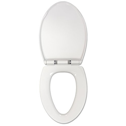 Sharper Image Sound Activated Nightlight Slow-Close Toilet Seat, Elongated, White