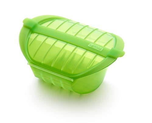 Lékué Ogya - Estuche Hondo para el microondas, Capacidad de 500 ml, para 1-2 Personas, Color Verde