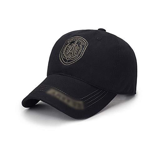 Venta al por Mayor 2018 Nuevo Sombrero de Pato Bordado Insignia de impresión sombrilla de algodón Sombrero Moda Pareja Modelos Gorra de béisbol Sombrero (Color : Negro, Size : 56-60cm)