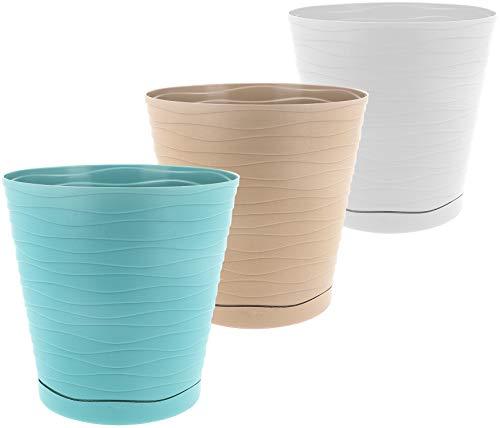com-four® 3X Vaso di Fiori in Diversi Colori - Vaso per Fiori ed Erbe - Vaso per Giardino, Balcone e Appartamento (Vaso per Piante - Turchese/Marrone/Bianco)