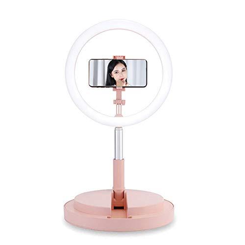 Meinuo Live-Lampe, Selfie Licht, Füllt Licht LED Telefon Live-Ring Integrale Pylon Klappboden Multi-Kamera-Video-Netzwerk Rot Selfie,Rosa