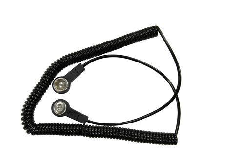 BJZ Erdungskabel, Spiral (1 MOhm) Druckknopfanschluss 4mm/10,3 mm 2,4 m schwarz