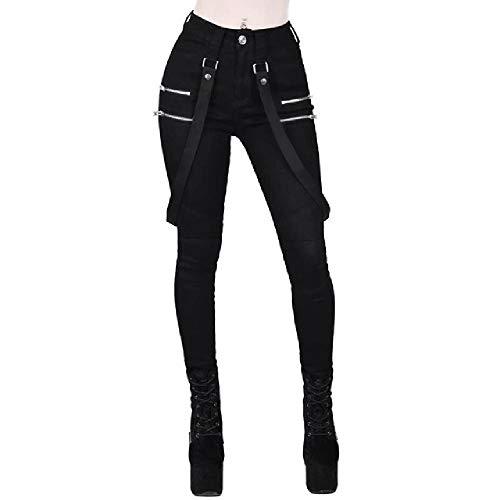 N\P Pantalones Mujer Negro Skinny Pantalones Cinturón Streetwear Mujer Pantalones Largos Vintage Lápiz Pantalones Punk Gótico Pantalones Joggers