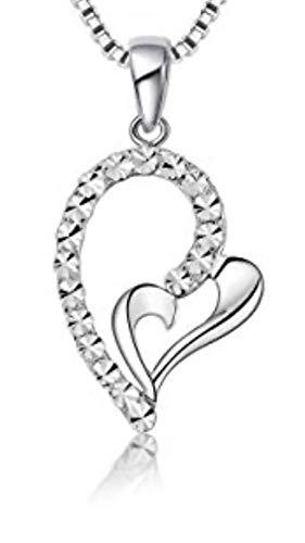 14ct 585 wit goud twee harten diamant gesneden ketting