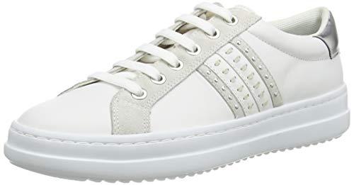 Geox Damen D PONTOISE D Sneaker, Weiß (White/Silver C0007), 38 EU