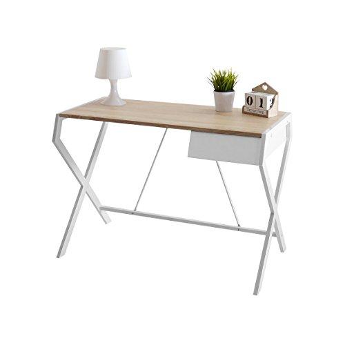 Selsey Designo – Schreibtisch/Bürotisch im Industrial-Look Modern Skandinavisch (Weiß/Sonoma Eiche)