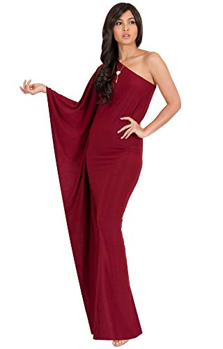 KOH KOH Plus Size Womens Long One Off The Shoulder Evening Cocktail Bridesmaid Wedding Party Tube Guest Summer Formal Flowy Elegant Sexy Gown Gowns Maxi Dress Dresses, Crimson Dark Red 2XL 18-20