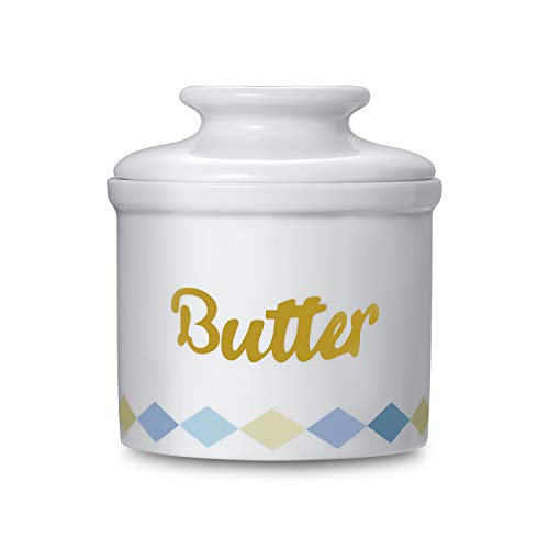 CONNYAM Porcelain Butter Keeper Crock - French Butter Dish with Lid, No More Hard Butter