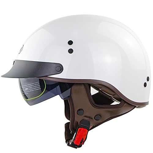 RENTOOR Adulto Casco Moto Abierto Medio Casco con Visera UV Gafas Vintage Open-Face Casco Moto Abierto Half-Face Helmets con Carcasa De ABS, ECE/Dot Homologado Oksmsa