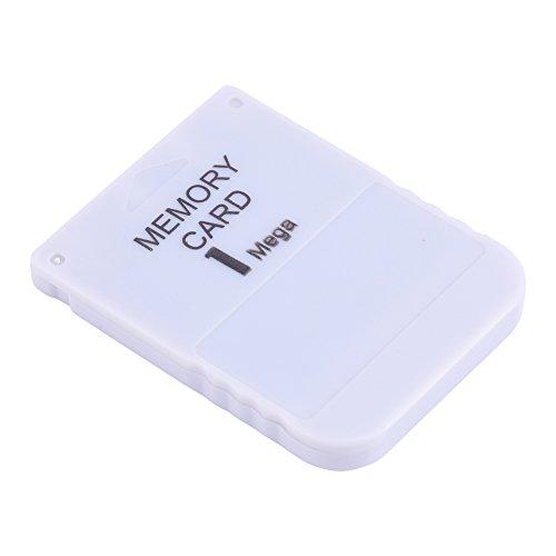143 Memory Card, Portable Memory Card Stick da 1 MB per Playstation One per PS1 Game, Non Perdere mai i progressi di Gioco, Facile da Usare, Bianco