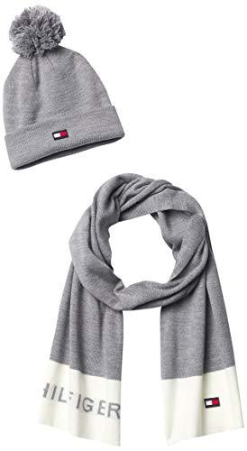 Tommy Hilfiger Damen Logo Hat and Scarf Winterzubehör, Set, Hellgrau (Light Grey Heather), Einheitsgröße