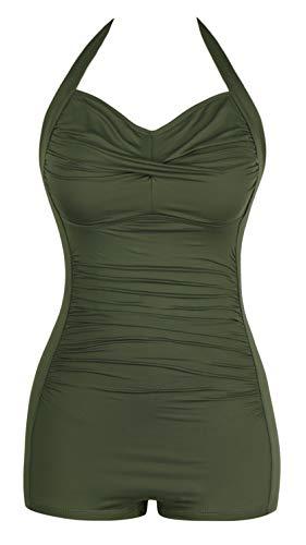 Sovoyontee Women's One Piece Tummy Control Swimwear Boyleg Ruched Swimsuit Army Green M
