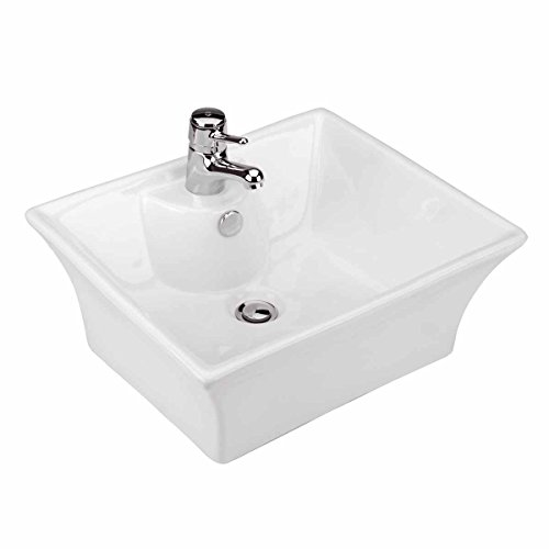 Newcastle 19 1/4' Square Countertop Vessel Bathroom Sink White With Overflow Pre-Drilled Single Faucet Hole Renovators Supply Manufacturing
