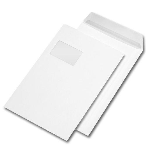 25 Stk. Versandtaschen C4 weiß, mit Fenster, haftklebend mit Abdeckstreifen (229 x 324 mm)