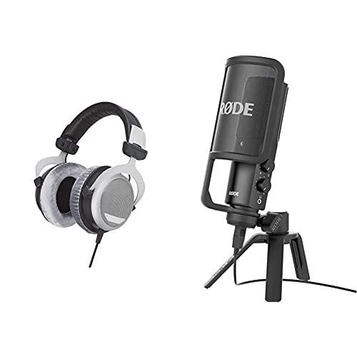 Beyerdynamic DT 880 Auriculares De Diadema Cerrados (600 Ohm, con Cable De 3 Metros) + Rode Microphones Rode Nt-USB Micrófono (USB, 3.5 Mm), Color Negro