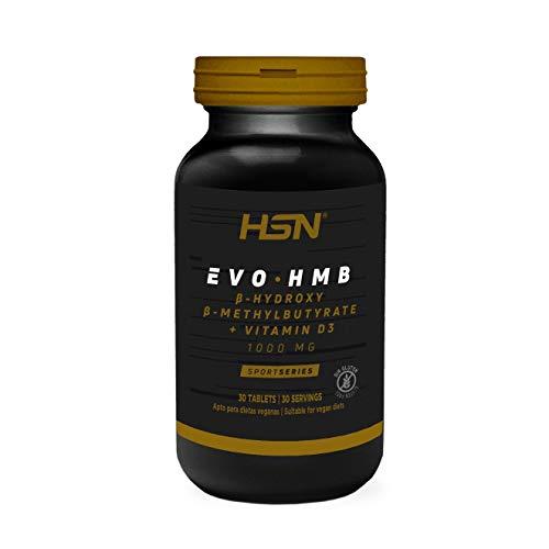 HMB de HSN Sports | Evohmb 1000 mg | Con Vitamina D | Anticatabólico, Ayuda a Ganar Masa Muscular, Recuperador, Ideal para Dieta de Definición | Vegano, Sin Gluten, Sin Lactosa, 30 tabletas