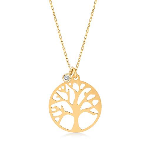 Gelin Damen Mädchen Gold Halskette aus 14 Karat - 585 Echt Gelbgold mit Baum des Lebens Anhänger 0.01 ct Diamant - Kette 45 cm