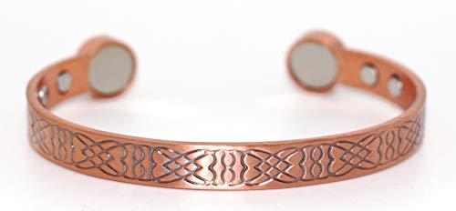 Magnetic Pure Copper Arthritis Therapy Bracelet with Extra Strong Magnets for Carpal Tunnel Migraine Menopause - Unisex Copper Bracelet