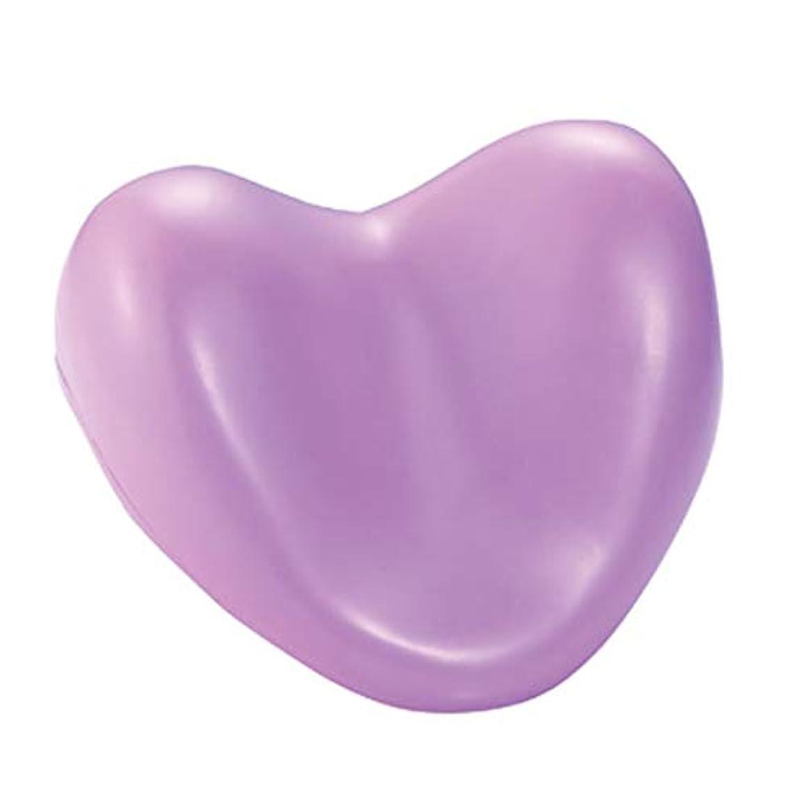 ステーキ一掃する画家サクションカップ付きウェルネスバスピローハート型PUフォームサポート枕温水浴槽とスパ浴槽,Purple