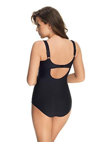 Selente My Secret - Traje de baño atractivo (bikini/bañador) en tallas grandes (copa C a copa H) con corte favorecedor, Bañador de lunares, color negro y blanco, 80H