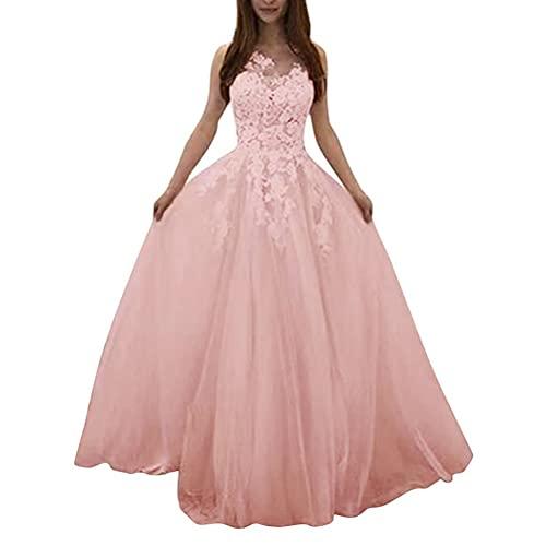 Tomwell Vestido Largo de Fiesta para Mujer Vestido Elegante Encaje de Dama...