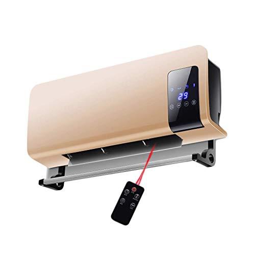 HQCC Chauffage mural à distance, chauffage céramique PTC - 2 000 W, réglage automatique du thermostat et affichage à LED pour le bureau/la salle de bain (Couleur : Or)