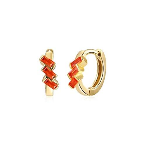 BOSAIYA SS1 2 unids 925 Pendientes de Plata esterlina Turquesa Cartílago Pendientes Bling Zircon Hoop Pendientes para Mujer Damas Charm Jewelry TL0420 (Gem Color : Orange Zircon)