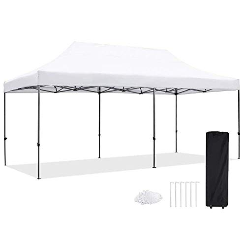 Pop Up Canopy Tent 10 x 20FT Easy EZ Up Instant Shelter Shade Heavy Duty Steel Frame Outdoor Commercial Party Events Popup Canopy with Portable Roller Bag, Water Resistant 420D Fabric, White
