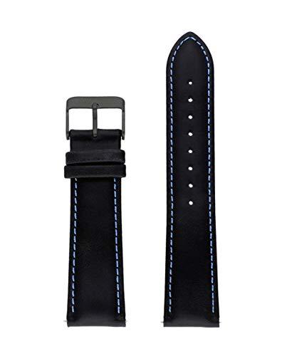Correa de piel italiana de la marca Watx. Modelo Leather Race / Black&Blue / 44mm. Referencia WXCO1725.
