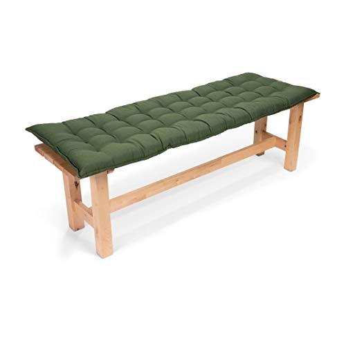Sun Garden Sylt - Cuscino per Panca Monopezzo, Comfort di Seduta al Massimo Livello, Cuscini Imbottiti di Alta Qualità per Mobili da Giardino, 140 x 50 x 7 cm, Verde