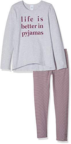 Sanetta Mädchen Pyjama Long Zweiteiliger Schlafanzug, Grau (Hellgrau Melange 1646.0), 140