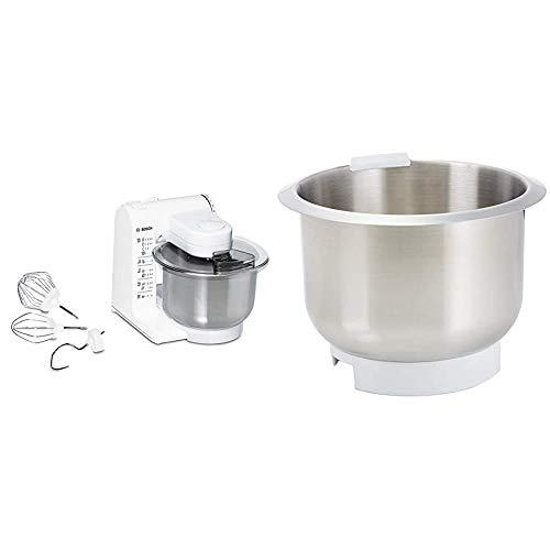 Bosch MUM4407 Küchenmaschine MUM4 (3.9 Liter) weiß & MUZ4ER2 Edelstahl-Rührschüssel passend für MUM4...