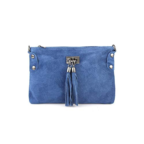 Made in Italy Damen Leder Clutch Tasche Messenger Bag Henkeltasche Wildleder Handtasche Umhängetasche Ledertasche Schultertasche Beuteltasche Fransen Cross-Over Jeansblau