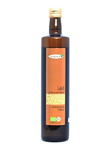 Bio-Leinöl frisch mild 2x 750ml in Braunglasflasche, Omega-Safe-Verfahren natives Speiseöl aus 1. Kaltpressung