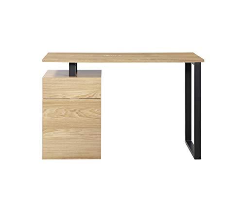 Centurion Support Calista, scrivania in legno di quercia con gambe nere opache, 3 cassetti, stile contemporaneo, casa, ufficio, computer, scrivania