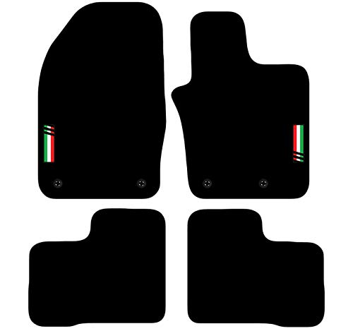 Carsio Tailored Carpet Car Floor Mats with logo 4 Clips TO FIT - Fiat 500x 2014+ Onwards