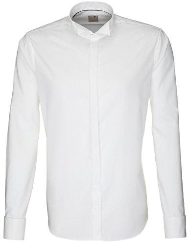 Seidensticker Smokinghemd, weiß, Kläppchenkragen, Slimline, 100% BW + 1 GRATIS Fliege Größe 46
